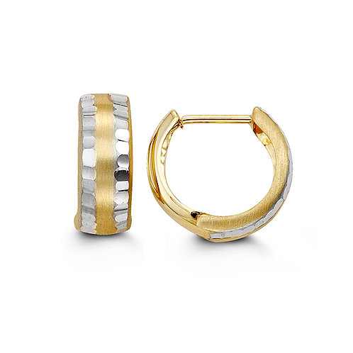 10kt White & Yellow Gold 2-Tone Huggie Earrings