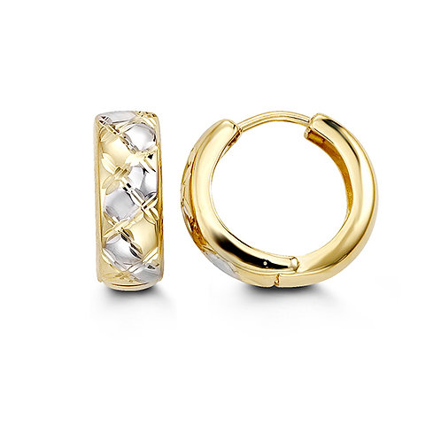 10kt White & Yellow Gold Two-Tone Diamond Cut Huggies