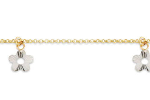 10kt Gold Two-Tone Anklet with Flower Charms