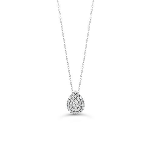 10K WG 0.103CT Diamond Pear Illusion Pendant with Chain