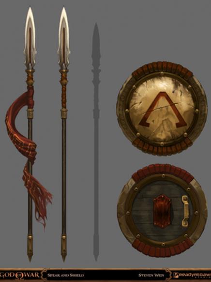 Lança e escudo espartanos