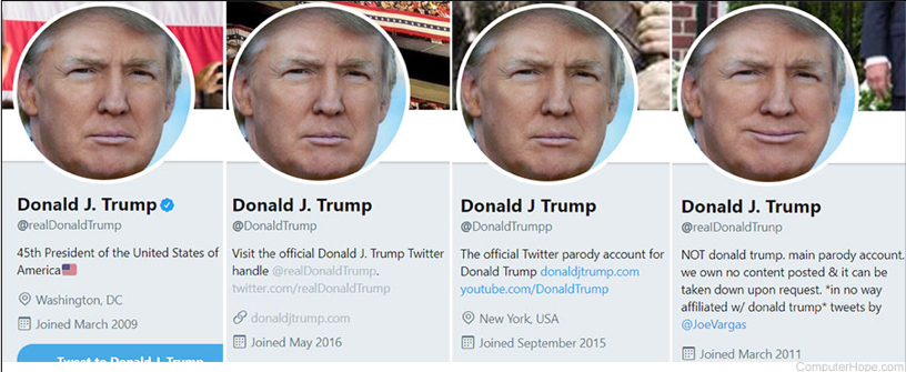 Trump, fake news, cuentas parodia