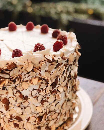 White & Orange layered cake |  Raspberry