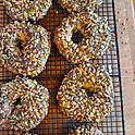 Vegetarian Hippie Wheat Bagel with Cheese