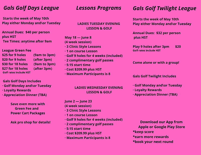 Gals Golf Days League Starts the week of