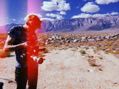 Watching footage back after the shoot in the Alabama Hills.