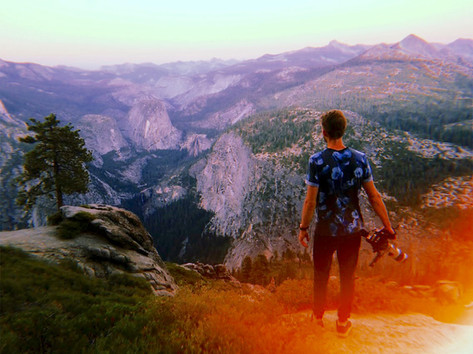 Filming from the top of a mountain in Yosemite National Park, California
