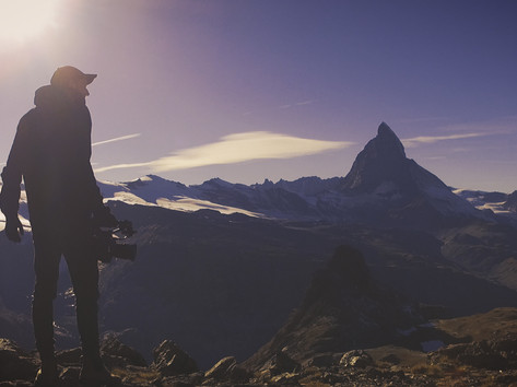 Hiking up the Swiss Alps for a video shoot for Myant Inc.