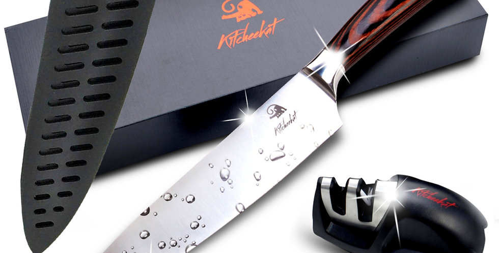 Premium Stainless Steel Blade|Safety Sheath|Manual Sharpener|All Gift Boxed
