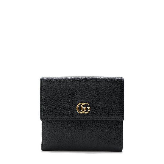 グッチ【GUCCI】GGマーモント レザー Wホック三つ折り財布
