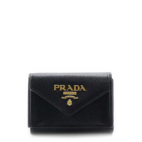 プラダ【PRADA】サフィアーノ三つ折り ミニ財布 【新品】