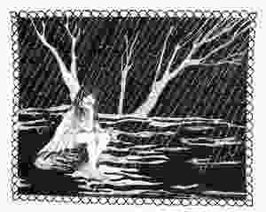 Black and white picture of girl sitting with her feet in a puddle in the rain pen and ink drawing with embroidery on paper