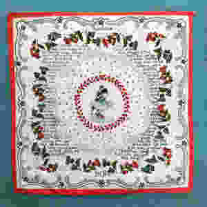 Hand embroidered vintage printed handkerchief.  In the center is the picture of a dancing couple.  Around is a hand-written story.  Blue and red colors