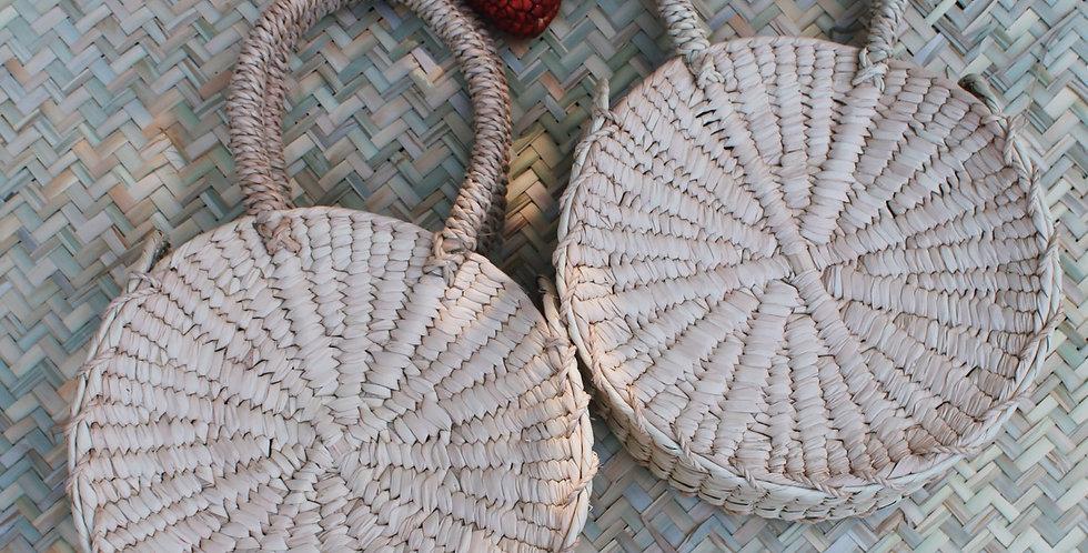 Aura Palm Fiber Round Bag