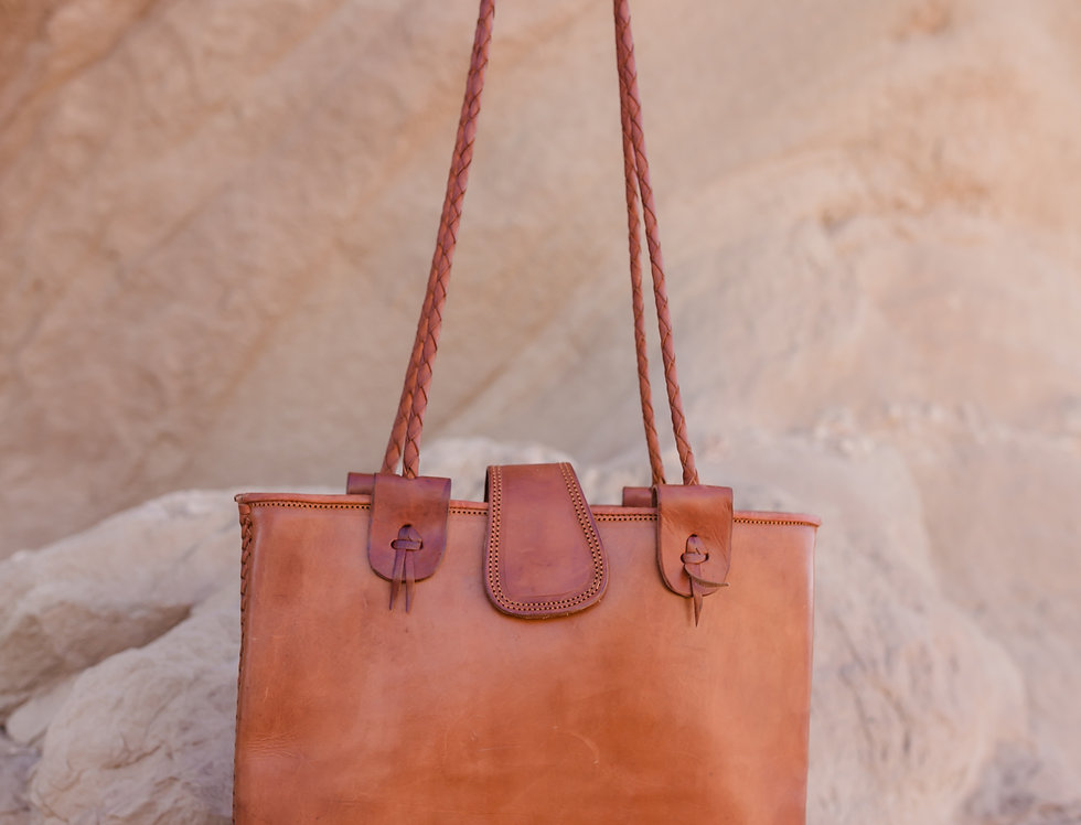 Cacao Leather Tote Bag