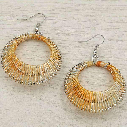 3D Threaded Disc Earrings