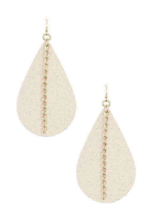 Aligned Chain Faux Leather Teardrop Earrings