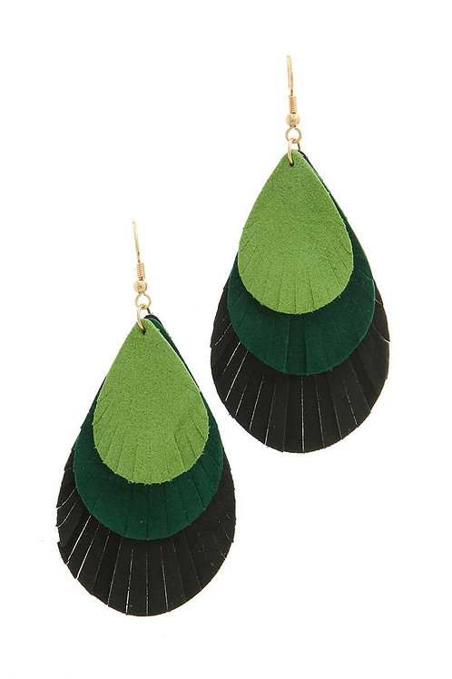 Triple Fray Teardrop Earrings