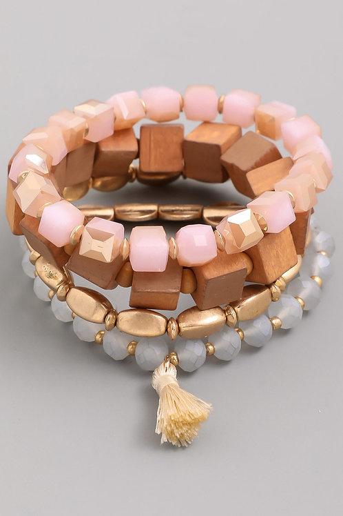 4 Strand Wood Tassel Bracelet