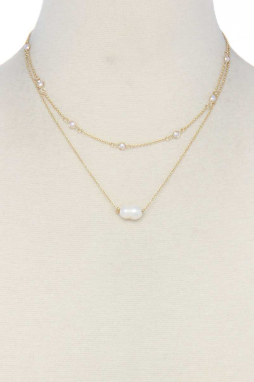 Layered Pearl Bead Short Necklace