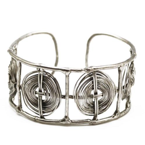 Silvertone Weave Cuff Bracelet MM3