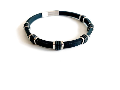 Black Leather Bracelet With Stainless Accents