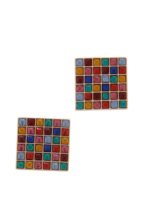 Square Rhinestone Post Earrings