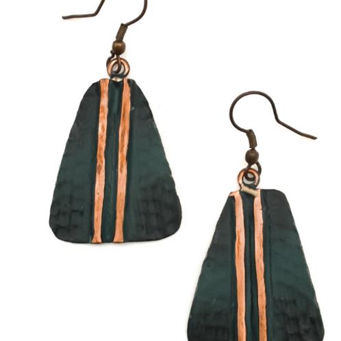Copper Embossed Parallel Earrings