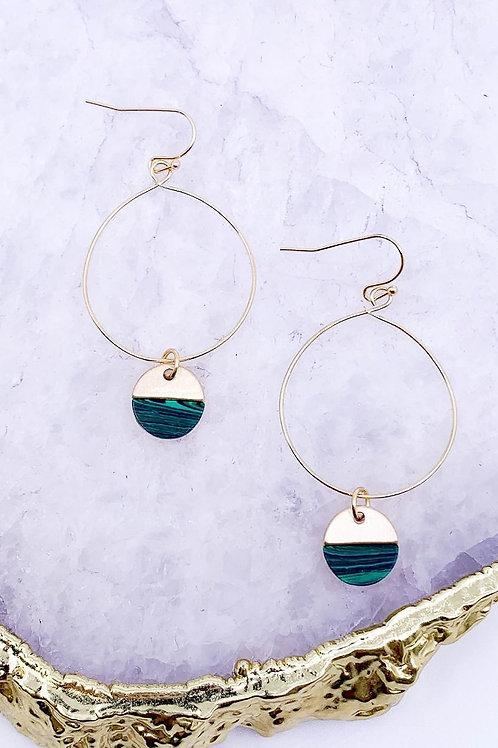 Semi Precious Stone Charm Hoop Drop Earrings