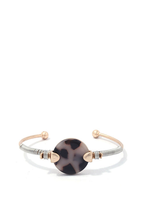 Acetate Circle Wire Cuff Metal Bracelet
