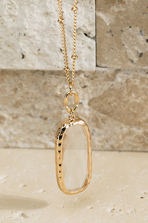 Clear Stone Metal Short Necklace