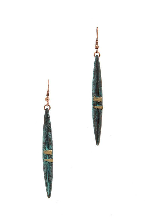 Pointed Oval Patina Earrings