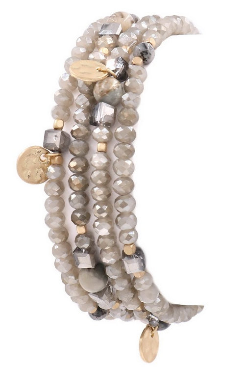 Faceted Metal-Stone Beaded Bracelet