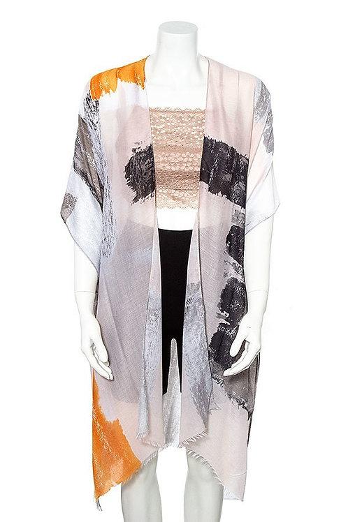 Mixed Color Fringed Trim Kimono