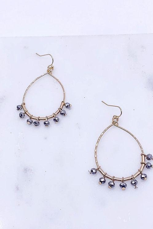 Glass Beaded Teardrop Earrings