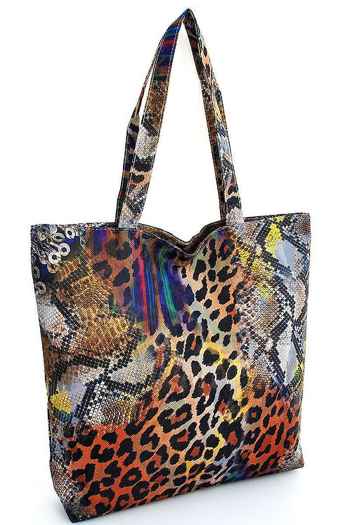 Rainbow Leopard Print Eco Tote Bag