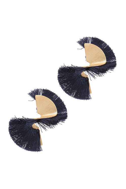 Organic Shape Twisted Tassel Post Earrings