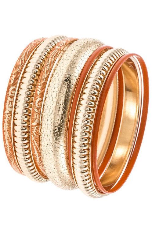 7-Piece Textured Bangle Bracelet