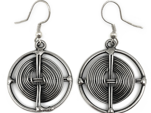 Silver Plated Brass Circle Earrings