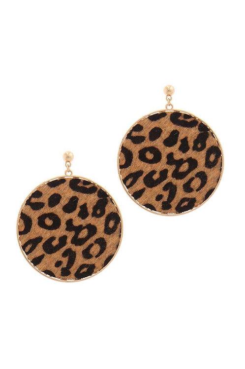 Animal Print Circle Drop Earrings