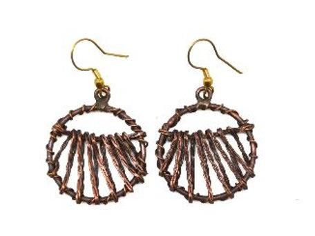 Round Copper Basketweave Earrings