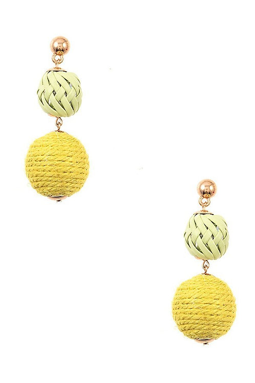 Woven Double Circle Drop Earrings