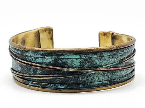 Patina Brass and Copper Cuff Bracelet