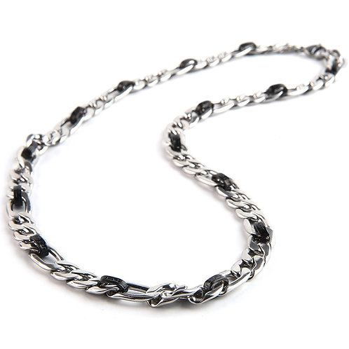 Silver/Black Stainless Chain Necklace