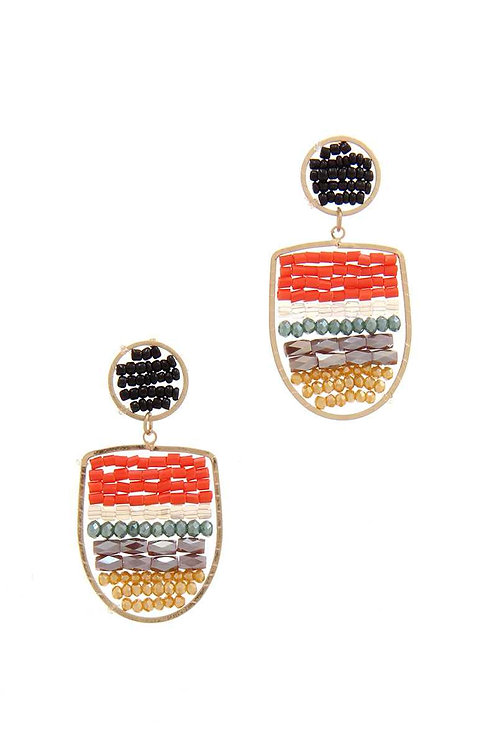 Beaded Post Drop Earrings