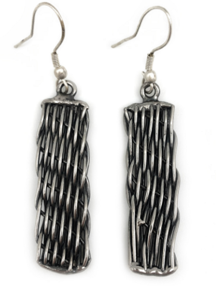 Silver Plated Weave Brass Earrings