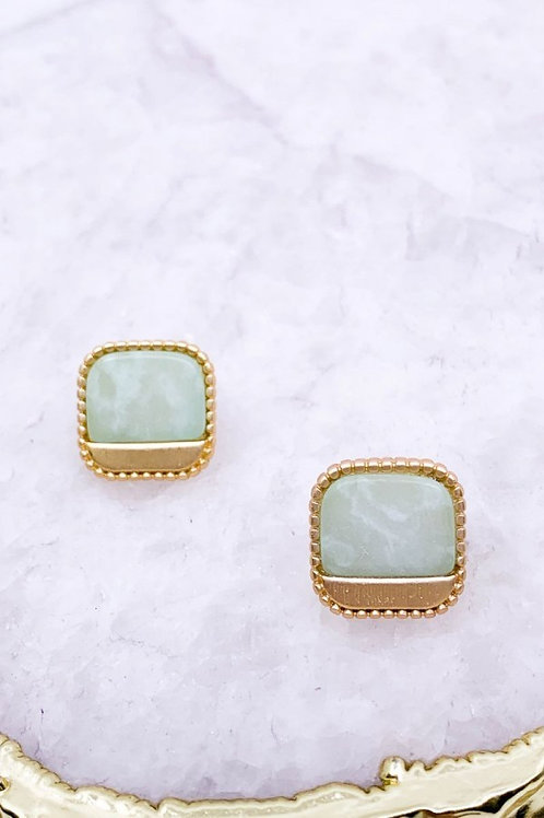 Semi Precious Stone Cushion Post Earrings