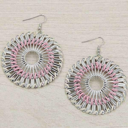 Pink Round Spiral Earring
