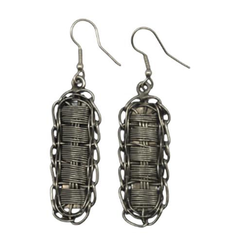 Silvertone Wire Weave Wrap Earrings