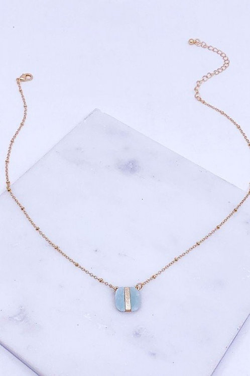 Semi Precious Stone Cushion Cut Pendant Necklace